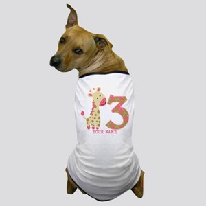 3rd Birthday Pink Giraffe Personalized Dog T-Shirt